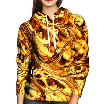 Gold Abstract Painting Womens Hoodie