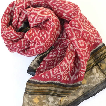 Red and Black Ikat Cotton Scarf