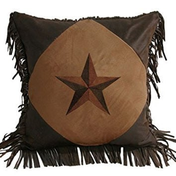HiEnd Accents Diamond Shape Star Pillow, 18 by 18-Inch, Dark Tan
