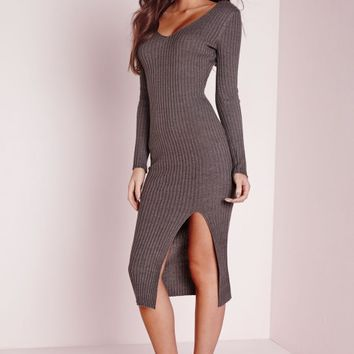 Missguided - Long Sleeve Split Midi Dress Grey