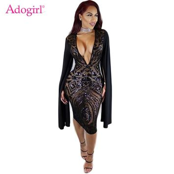 Adogirl Sheer Mesh Sequins Bodycon Club Dress Women Sexy Deep V Neck Slit Long Sleeve Bandage Midi Party Dresses Bar Costumes