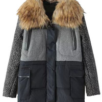 Black Splice Padded Coat With Fur Collar