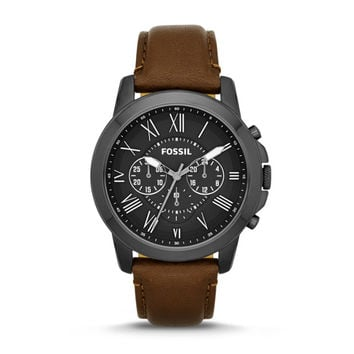 Grant Chronograph Brown Leather Watch - $135.00