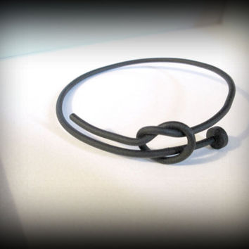 Nail bangle-knot bangle-black metal bangle-nail bracelet-twisted nail bangle