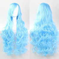 Womens/Ladies 80cm Sky Blue Color Long CURLY Cosplay/Costume/Anime/Party/Bangs Full Sexy Wig (80cm curly,Water Blue)