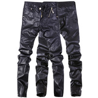 Men's Leather Denim Straight Trousers Jeans