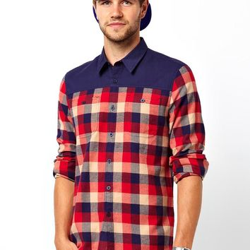 ASOS Buffalo Check Shirt in Long Sleeve with Contrast Panels