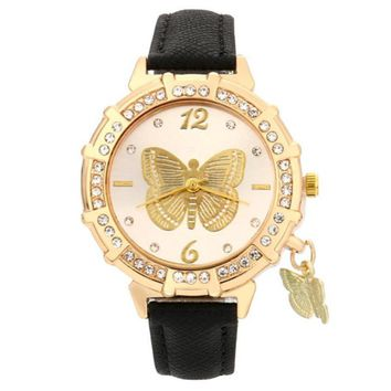 Butterfly Pendant Rhinestone Women Watches Gift 2017 Hot Design PU Leather Watches Women Clock Metal Watch Bracelets Montre
