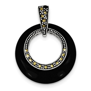 Sterling Silver Onyx & Marcasite Circle Slide QP1283
