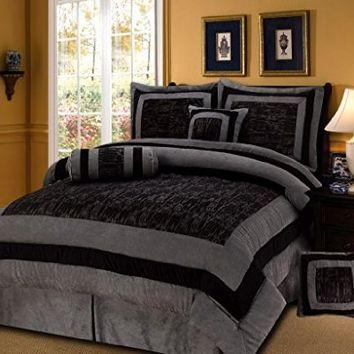 7 Pieces Black/Grey Short Fur with Suede Comforter Set Queen Bedding Set / Bed-in-a-bag