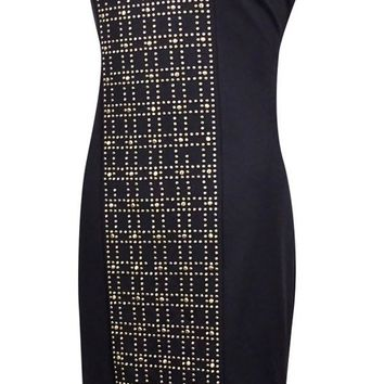 Calvin Klein Women's Studded-Front Sleeveless Ponte Sheath Dress
