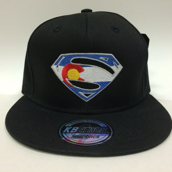 Superman Colorado flag Snapback hat cap super heroes Men Women Teens Kids