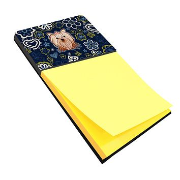 Blue Flowers Yorkie Yorkishire Terrier Sticky Note Holder BB5055SN