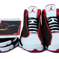 Hot Air Jordans 13 Retro Women Shoes Black White Red