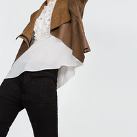 FAUX SUEDE OVERSHIRT