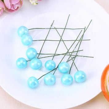 Cherry Plastic Artificial Flower Berries Wedding Christmas Cake Box Wreaths Decoration 50pcs 1.2cm Super Pearl Realistic Shape