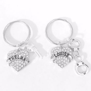 Best Friends Thelma Louise Gun Handcuff Friendship Friends Sisters Keychain Set