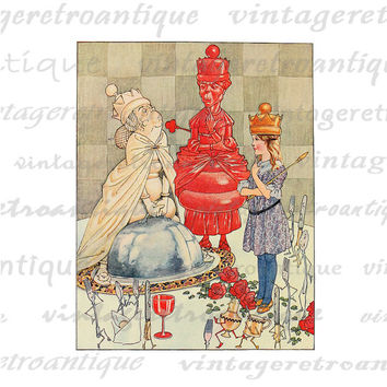 Printable Graphic Alice White Queen and Red Queen Alice in Wonderland Download Digital Image HQ 300dpi No.2543