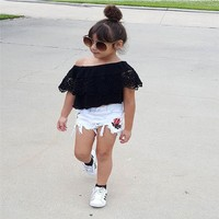 Girls Clothes Fashion Tops + Denim Shorts Kids Clothing Sets (Multiple Variations Available)