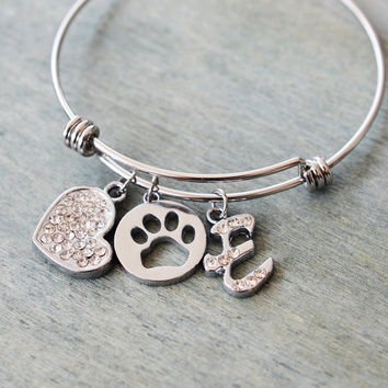 animal lover jewelry, dog paw bangle, dog mom, personalized bracelet bangle, stackable bangle, bridesmaid gift, friend gift, dog paw jewelry