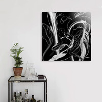«Caribbean Succulent White on Black», Limited Edition Aluminum Print by Alicia Jones - From $65 - Curioos