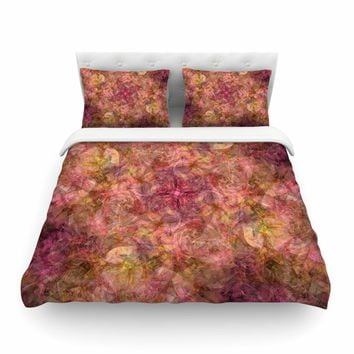 "Justyna Jaszke ""Mandala Roses"" Multicolor Orange Abstract Pattern Digital Mixed Media Featherweight Duvet Cover"