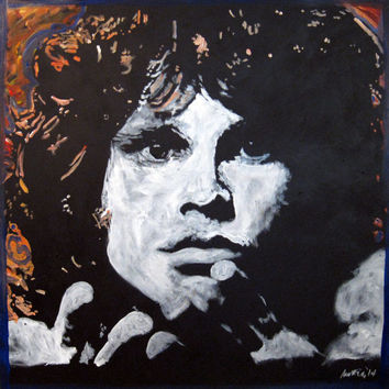Large Pop Art Painting 48x48 Jim Morrison The Doors Square Canvas Painting Large Wall Art Large Painting