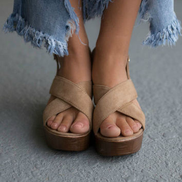 Our Time Taupe Open Toe Heels