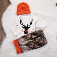 Brand New Set OH Deer Buck Top Blaze Orange Beanie Camo Pant Baby Boy Coming Home Keepsake Outfit Baby Shower Gift Set 3 pc. Deer Antler Theme Pant Hat LS Top Newborn Infant Clothing Gifts & Accessories
