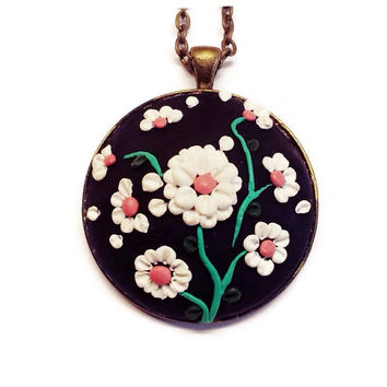 Polymer necklace black necklace flower necklace handmade pendant Women's Jewelry statement jewelry bohemian gift idea gift for her charm