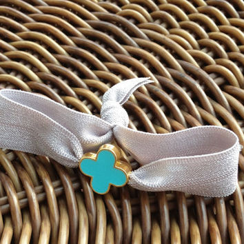 Elastic Hair Ties (and Bracelets) w/ Turquoise Face Gold Toned Heart