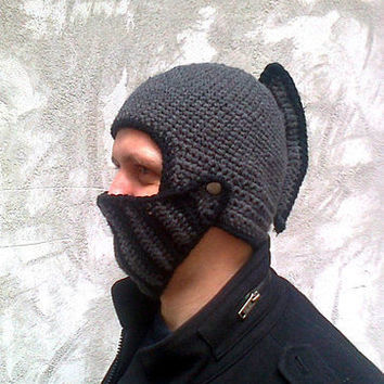 Crochet knight helmet, Knit winter hat, Crochet mask, Hand crochet roman helmet