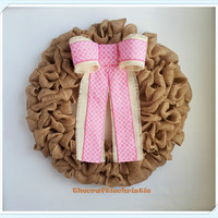 Burlap Wreath, Baby Shower Gift and Decoration, Baby Girl Nursery Decor, Pink & Ivory Burlap Wreath, Spring Wreath, Easter Wreath,Door Decor