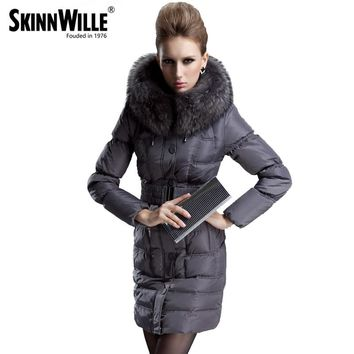 skinnwille fashion thickening large fur collar down coat women medium-long winter new woman winter coats and jackets