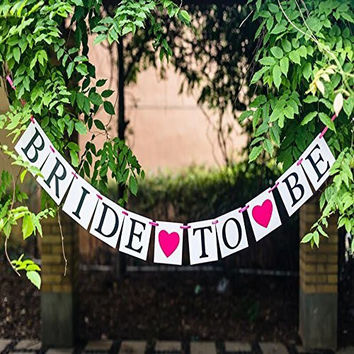 BRIDE TO BE hot pink Heart Wedding Banner Bunting Bridal Shower Party Garland Hen Party Decoration