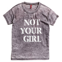 H&M - Burnout-patterned Top - Dark gray - Ladies