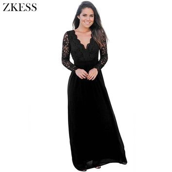 e5673cda28d Zkess New Women Backless Crochet Lace Maxi Dress Sexy V Neck Lon