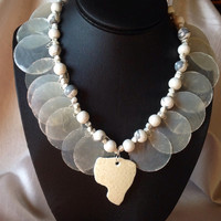 African Jewelry Ostrich Shell Necklace, Jasper, Polmer Clay, Silver Magnetic Clasp