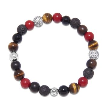 Men's Wristband with Red Jade, Lava Stone, Agate, Brown Tiger Eye and Ebony