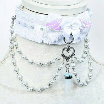 Celestial Angel Collar - Lacey O ring Durable BDSM Ddlg Pet Kitten Puppy Slave Submissive Play Collar