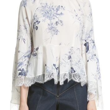 Cinq à Sept Avalon Peplum Hem Silk Top | Nordstrom