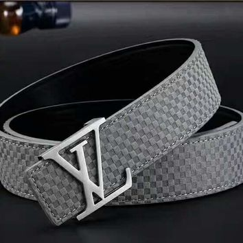 LV Plaid Woman Fashion Smooth Buckle Belt Leather Belt H-A-GFPDPF