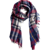 H&M - Plaid Wool Scarf - Red - Ladies