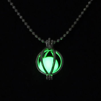 Green glow in the dark pumpkin pendant necklace, key ring, or rear view mirror hanger