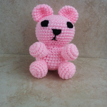Bright Pink Crochet Teddy Bear Soft Toy. Gift for Mother's Day. Gift for her. Gift for Mom.