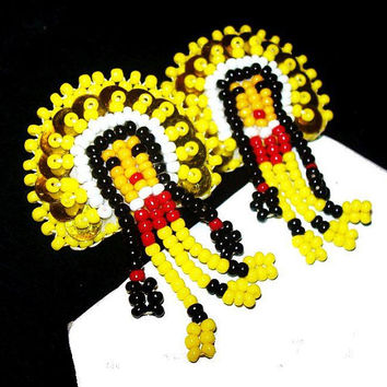 "Tribal Indian Girl Earrings Yellow Black Red Beads Dangling Clip On's 2"" Vintage Native American"