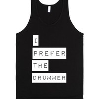I Prefer The Drummer-Unisex Black Tank