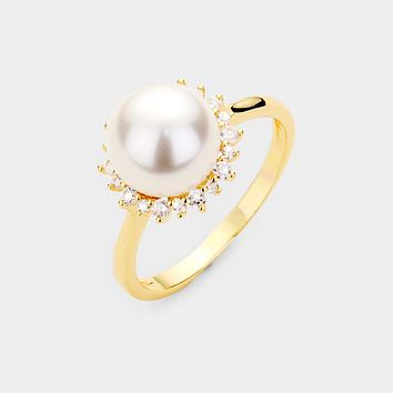 Gold Plated Cz Pave Pearl Ring