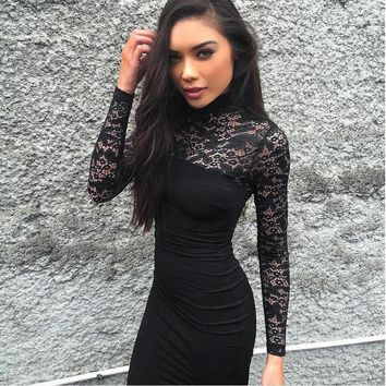 Women's Lace Bodycon Bandage Long Sleeve Evening Party Formal Wedding Midi Dress