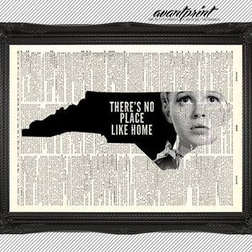 Theres No Place Like Home North Carolina AvantPrint Original Print on Unframed Upcycled Bookpage
